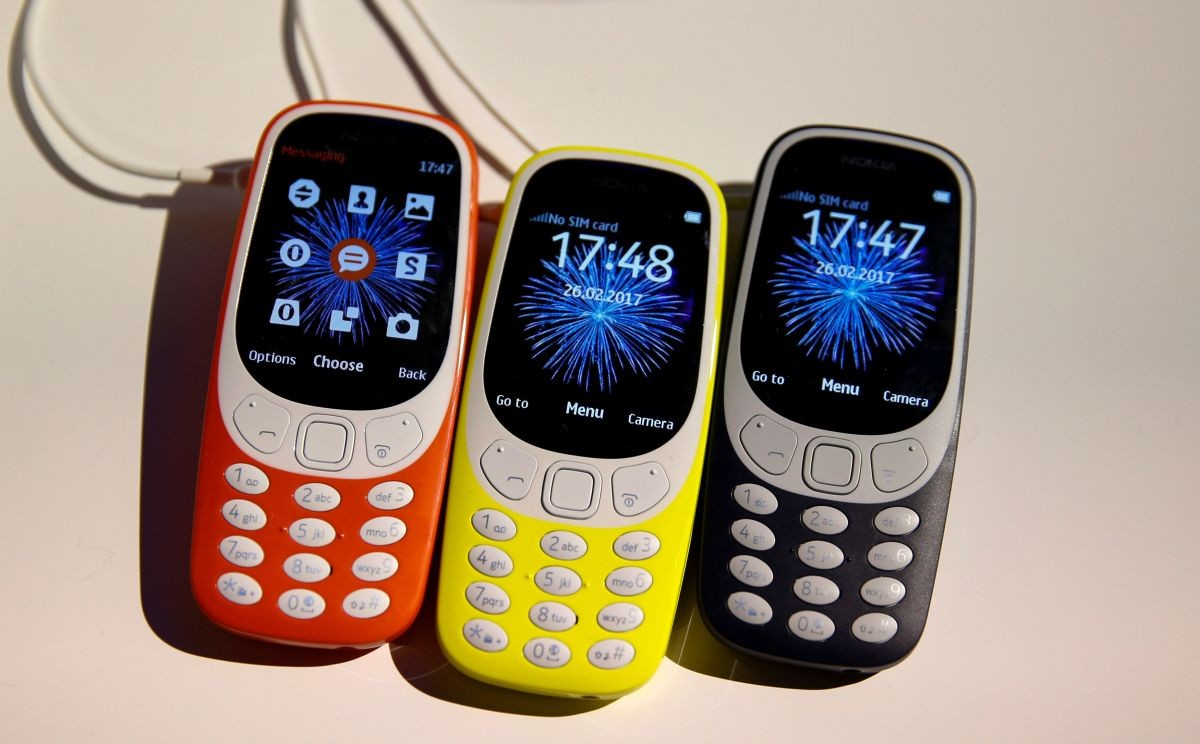Nokia 3310 devices are displayed after their presentation ceremony at Mobile World Congress in Barcelona, Spain, February 26, 2017. REUTERS/Paul Hanna