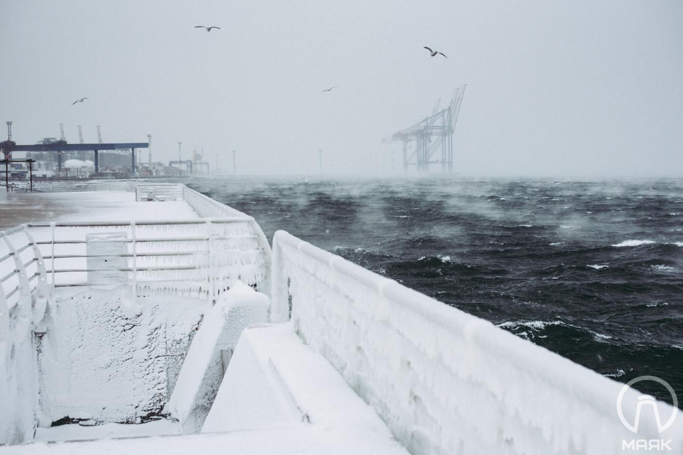 «Арктическое» море в Одессе: пар над замерзающим Ланжероном