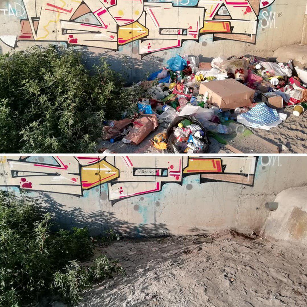 Результат уборки спортсменов-экстремалов Евгения Латы и Ирины Цыркун, которые за полтора часа очистили от мусора пляж между 9 и 10-й станциями Большого Фонтана.