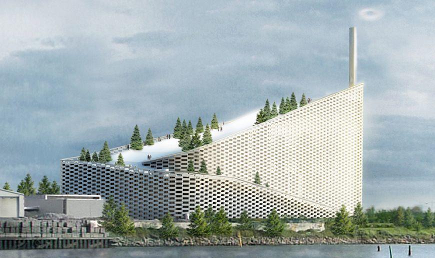 Мусоросжигающий завод в Копенгагене, на крыше которого горнолыжная трасса, парк, стена для скалолазания, пешеходные дорожки, обзорная площадка.