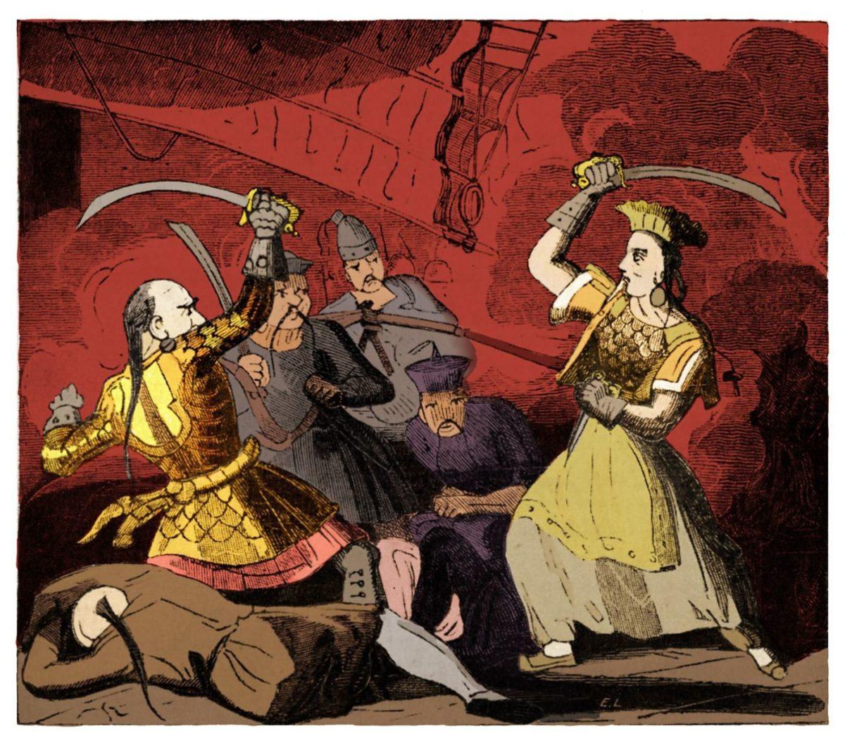 Цветное изображение госпожи Чжэн. Рисунок из History of Pirates of all Nations.