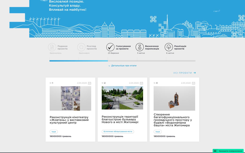Снимок экрана со страницы проектов на сайте e-dem.