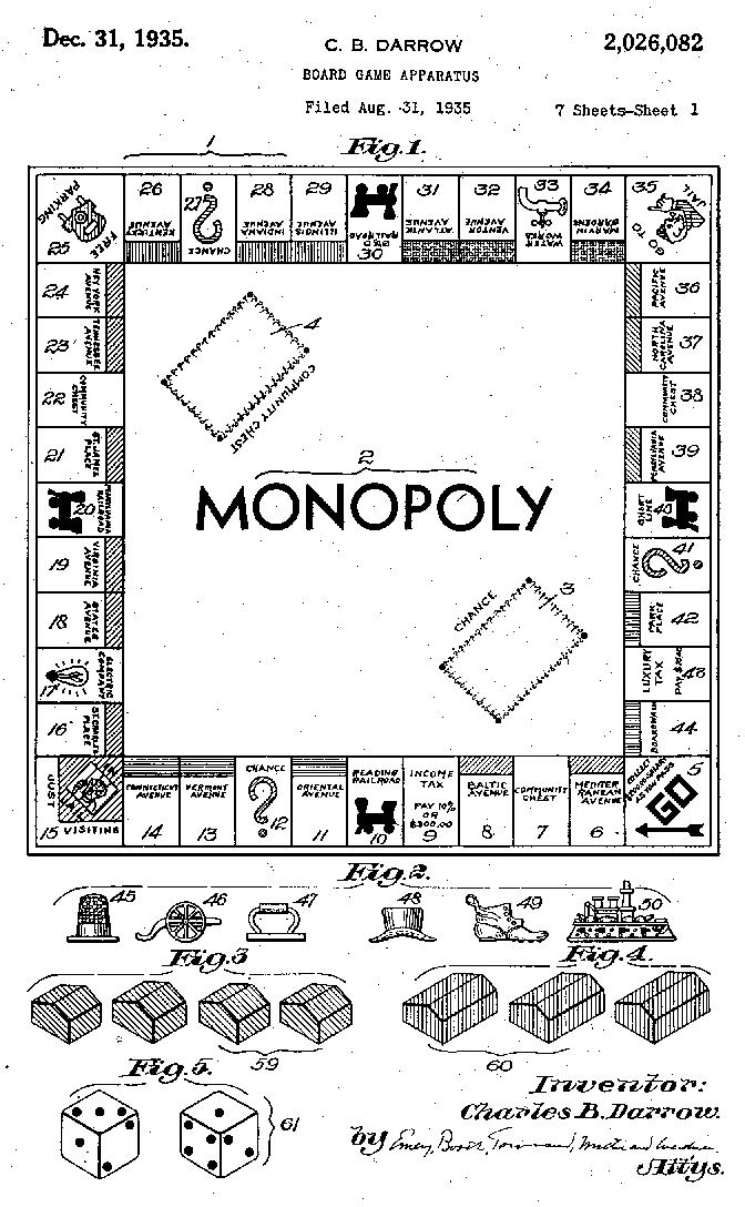 Первая страница заявки Чарльза Дэрроу на патент по «Монополии», рассмотренной и одобренной в 1935 году.