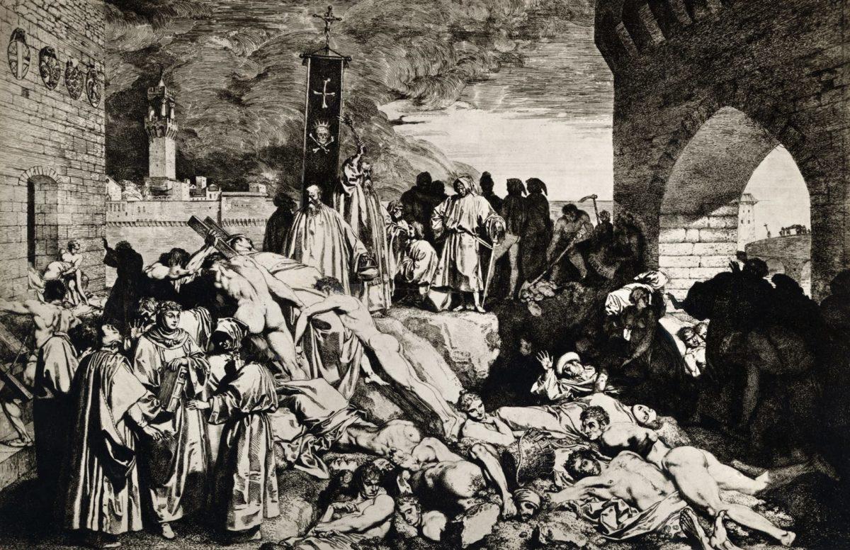 «Чума во Флоренции 1348 года, описанная в «Декамероне» Боккаччо». Автор картины — Луиджи Сабателли.