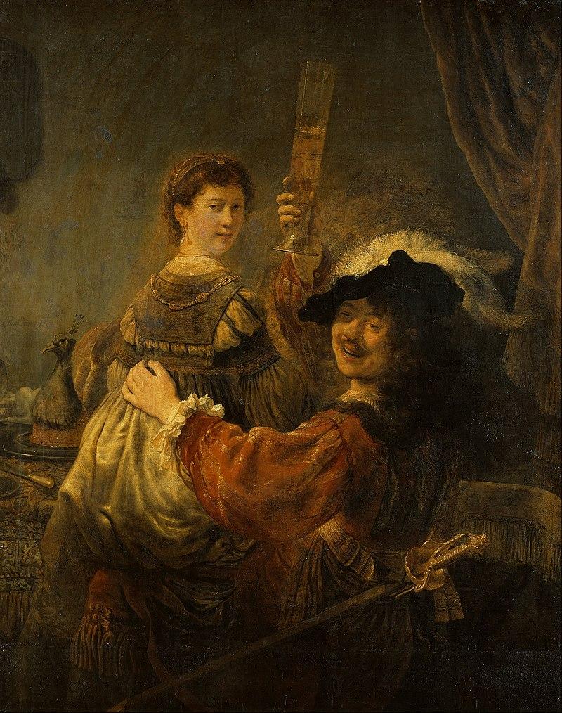 «Блудный сын в таверне» («Автопортрет с Саскией на коленях») — автопортрет Рембрандта с женой Саскией.