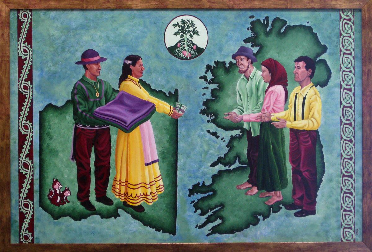 «Чокто оказывают помощь ирландцам». Картина Америки Мередит.