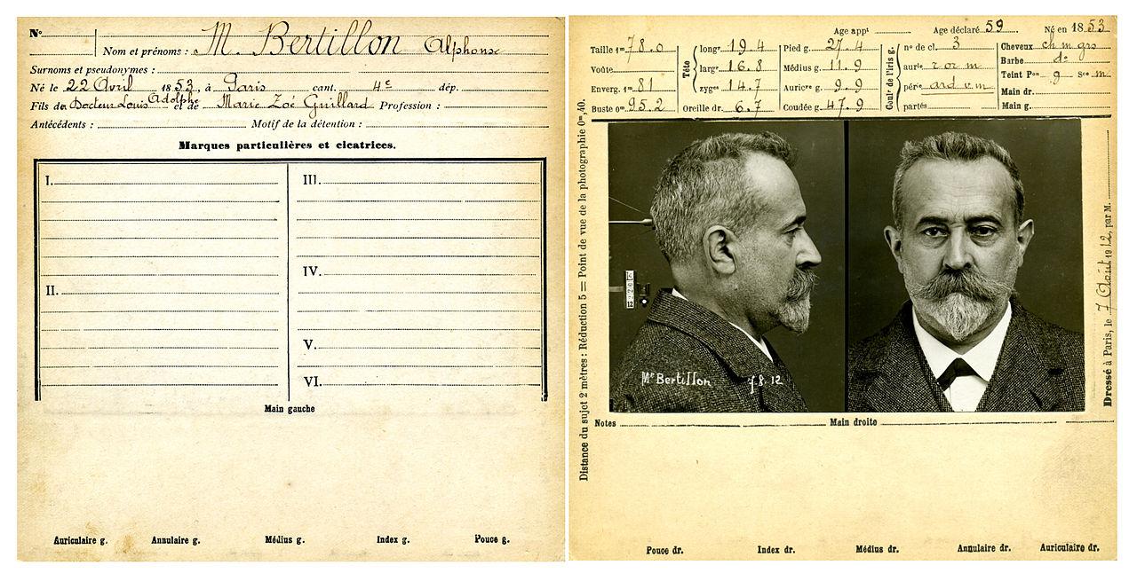 Карточка с антропометрическими данными самого Альфонса Бертильона.