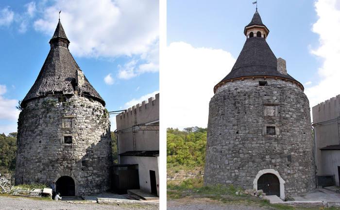 Вид Гончарной башни до и после реставрации крыши. Фото —«Кам'янець».