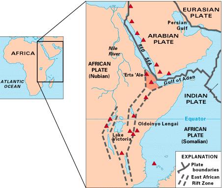 Схематическое изображение, показывающее место разрыва трех плато. На нем Аравийское плато и две части Африканского плато (Нубийская и Сомалийская), разделяющие Восточно-Африканскую рифтовую зону. Иллюстрация — USGS.