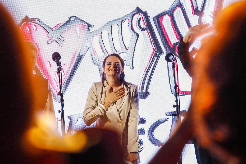 Светлана Тихановская на митинге.Фото — belsat.eu