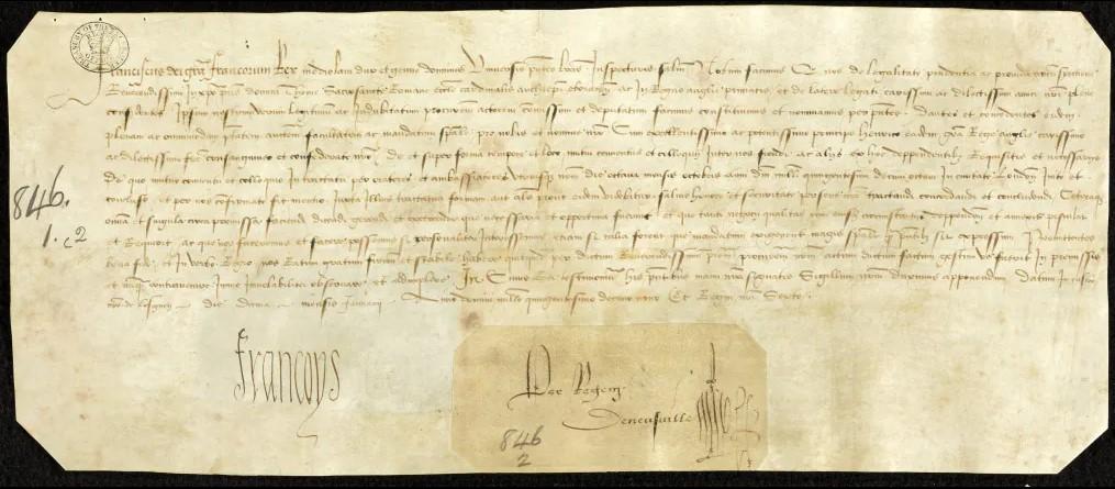Письмо Франциска I, адресованное кардиналу Уолси, в котором французский монарх соглашается на встречу с Генрихом VIII.