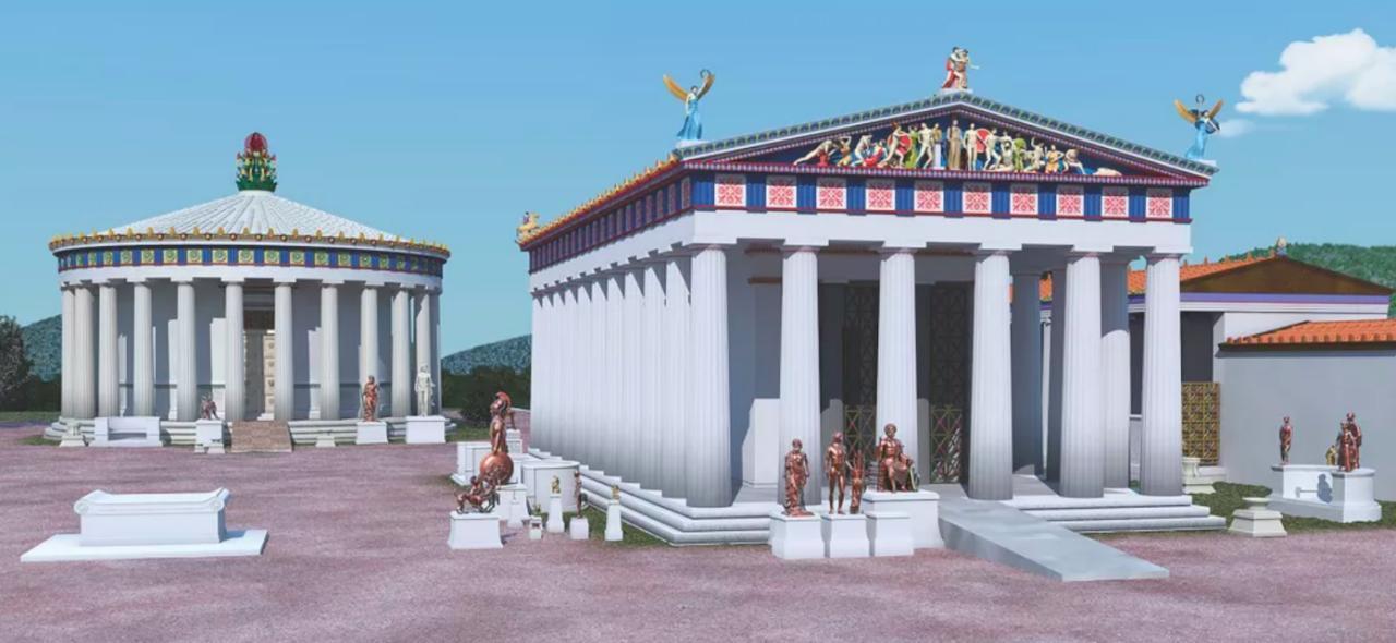Реконструкция храма Асклепия в IV веке до н.э. в Эпидавре с изображением ската, выходящего из передней/восточной стороны. Автор — J. Goodinson.