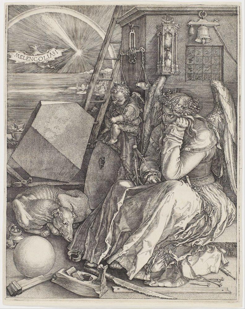 Изображение — «Меланхолия». Альбрехт Дюрер, 1514 год.