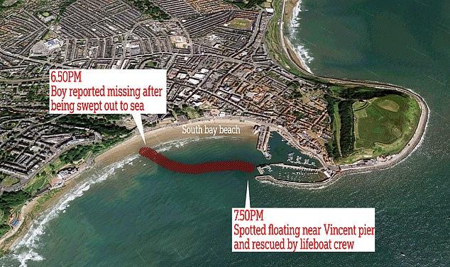 Место, где мальчика видели в последний раз, и точка, в которой его обнаружили спасатели. Иллюстрация — Daily Mail.