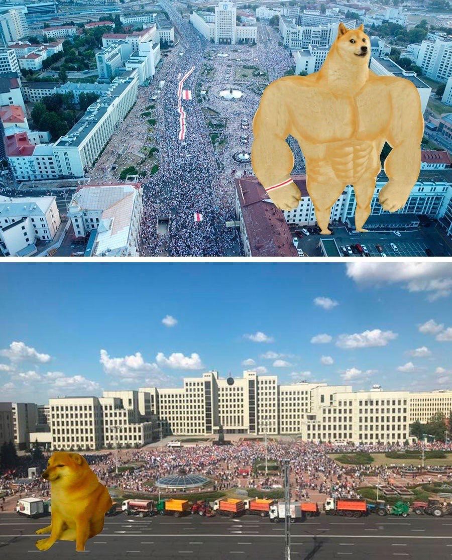 Митинг за Тихановскую и митинг за Лукашенко
