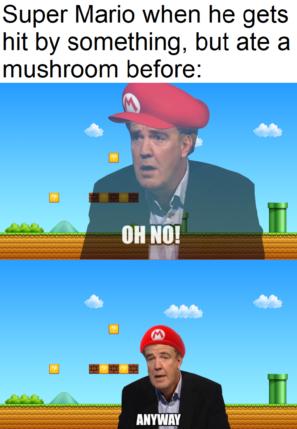 Супер Марио, когда ударился обо что-то, но перед этим съел гриб.