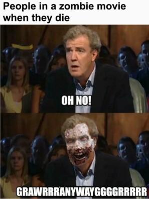 Люди, которые умирают, в фильме о зомби.
