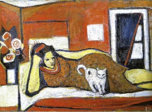 «Женщина с кошкой». Маргарита Ивановна Сельская-Райх. Конец 60-х.