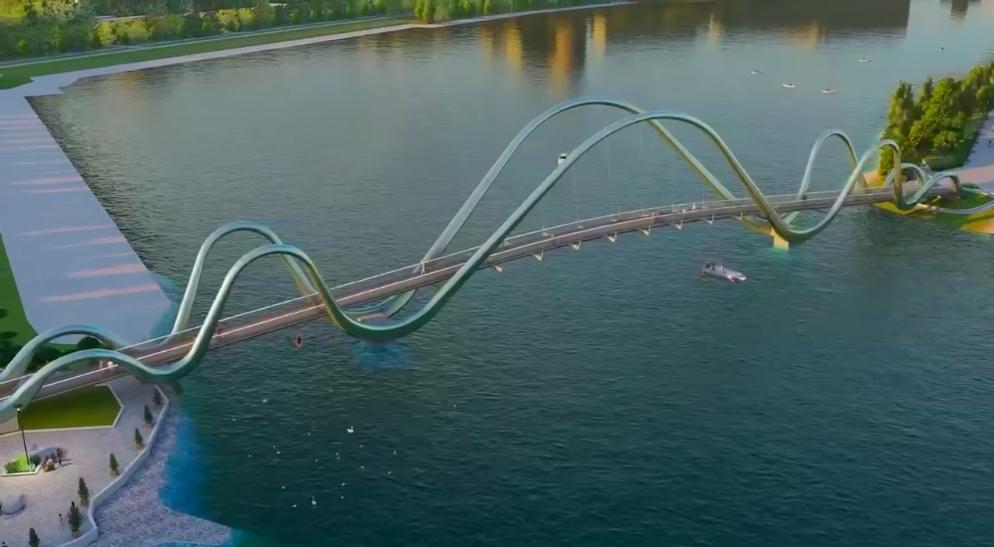 Видео дня. Как будет выглядеть новый пешеходный мост на Оболони