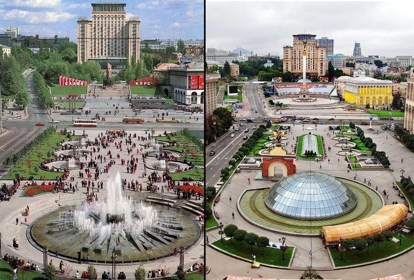 На фото Майдан до и после реконструкции в 2001-м году. Коллаж проектаUkrainian Modernism.