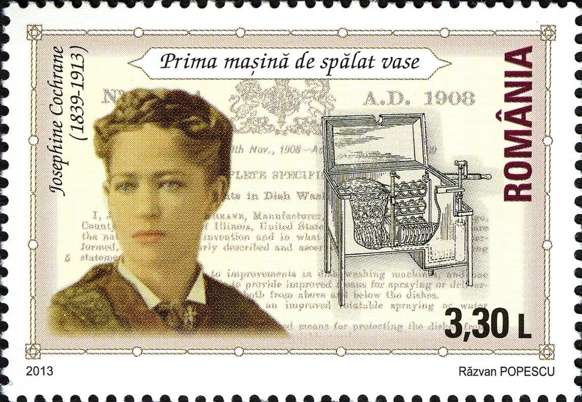 Марка с портретом Джозефины Кокрейн, иллюстрацией ее изобретения и патентным письмом на усовершенствование.
