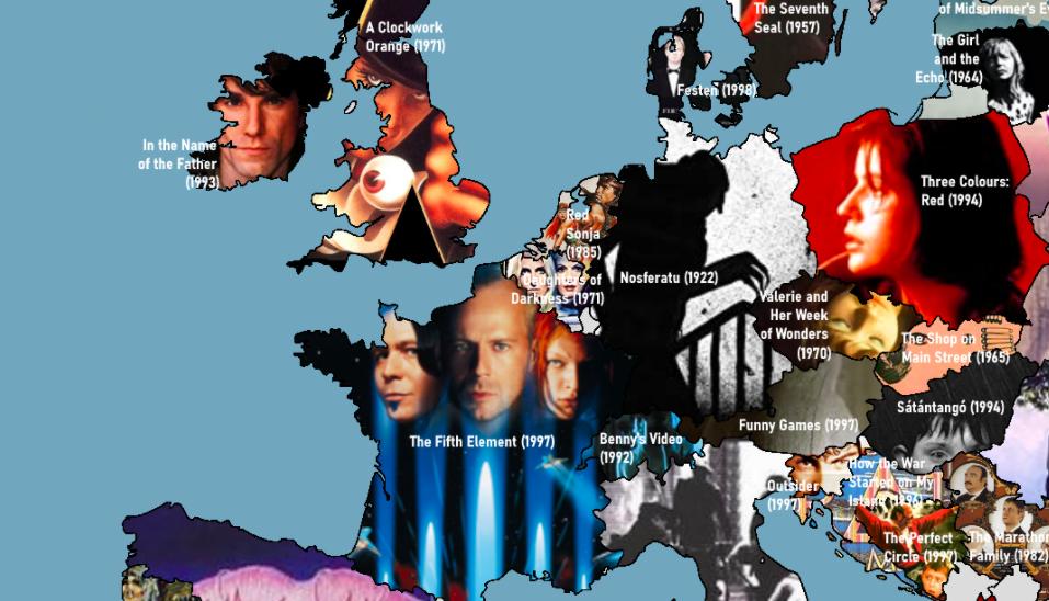 Карта самых популярных фильмов, созданных в Европе в XX веке, по версии IMDb. Италия — неожиданнее всего