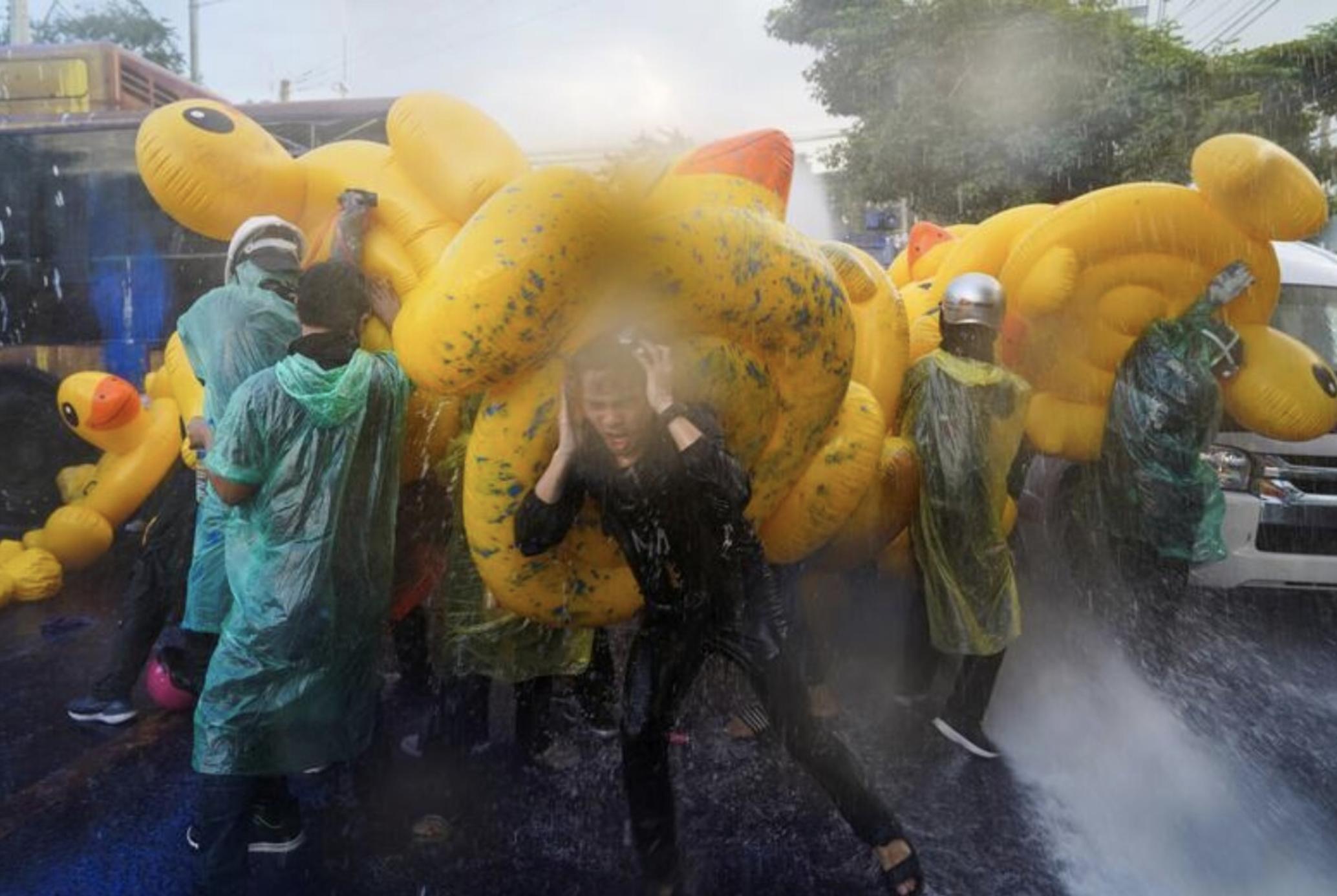 Снимок дня. Протестующие в Бангкоке защищаются надувными утками от водометов