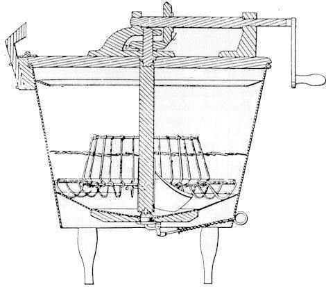 Чертеж посудомоечной машины Л.А. Александра (приложение к патентной заявке).