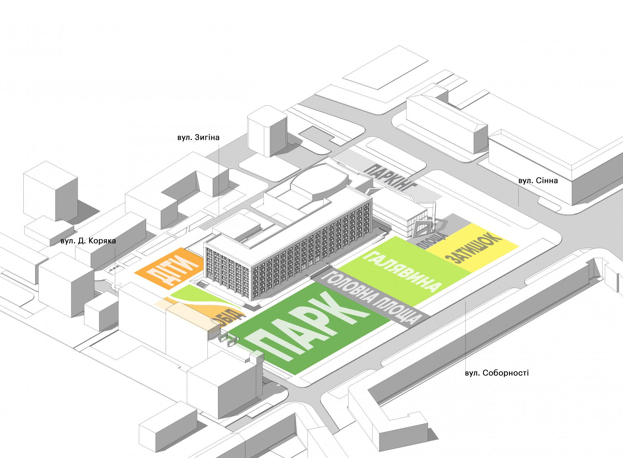 Проект площади перед зданием Полтавской ОГА студии ландшафтной архитектуры Kotsiuba. Посмотреть полностью можно тут.