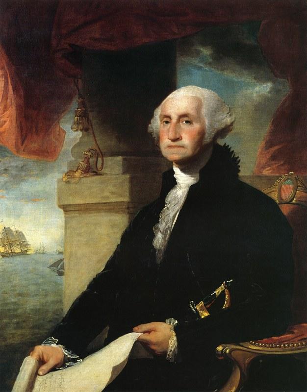 Портрет Вашингтона кисти Гилберта Стюарта 1797 года. Видно, что протезы доставляют президенту неудобство.