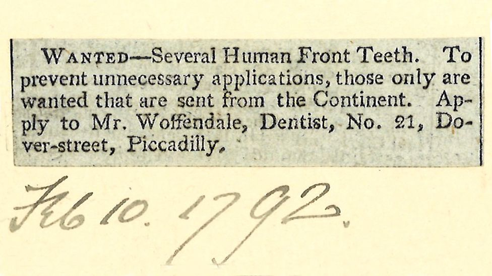 Объявление 1792 года о покупке передних человеческих зубов.