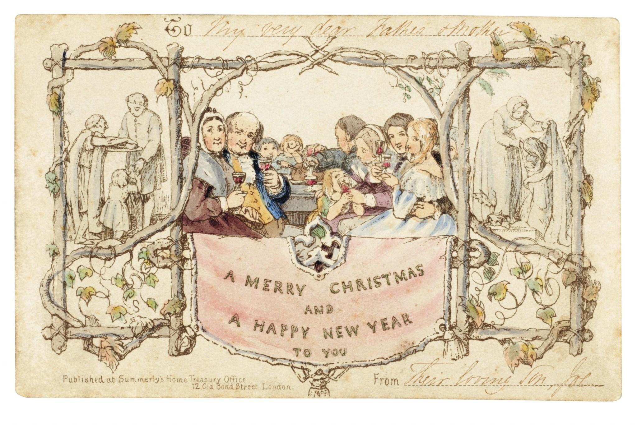 В Лондоне на аукционе продали первую коммерческую рождественскую открытку. На ней мать поит ребенка вином