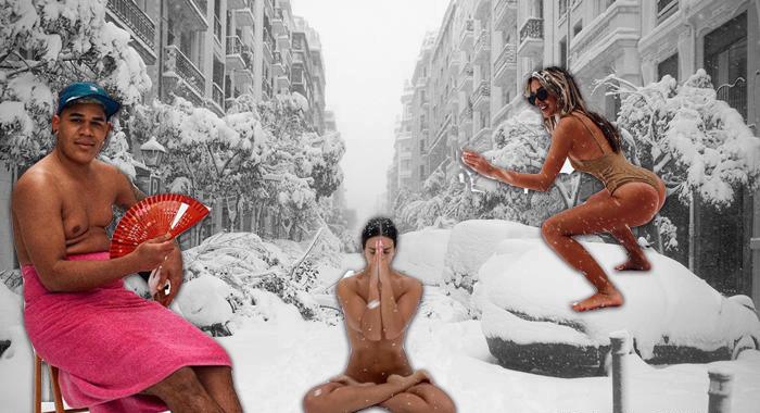Голый Мадрид. Испанцы выкладывают «пляжные» фото на фоне выпавшего снега