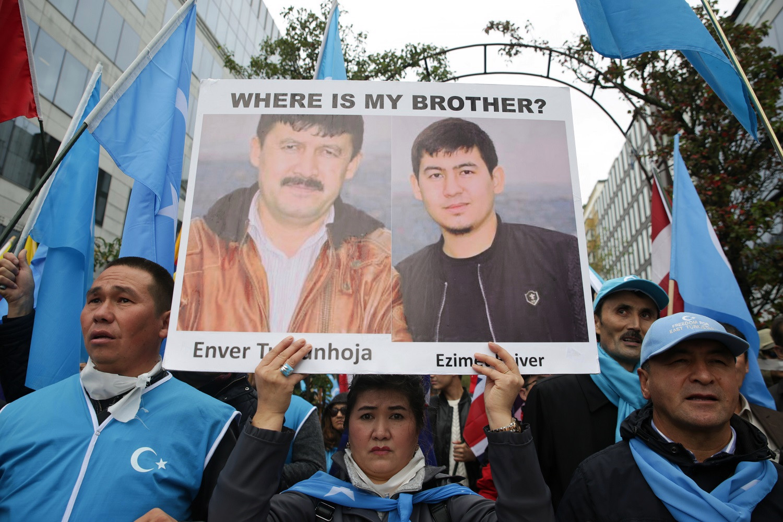 Уйгуры протестуют в Брюсселе. 2019 год.