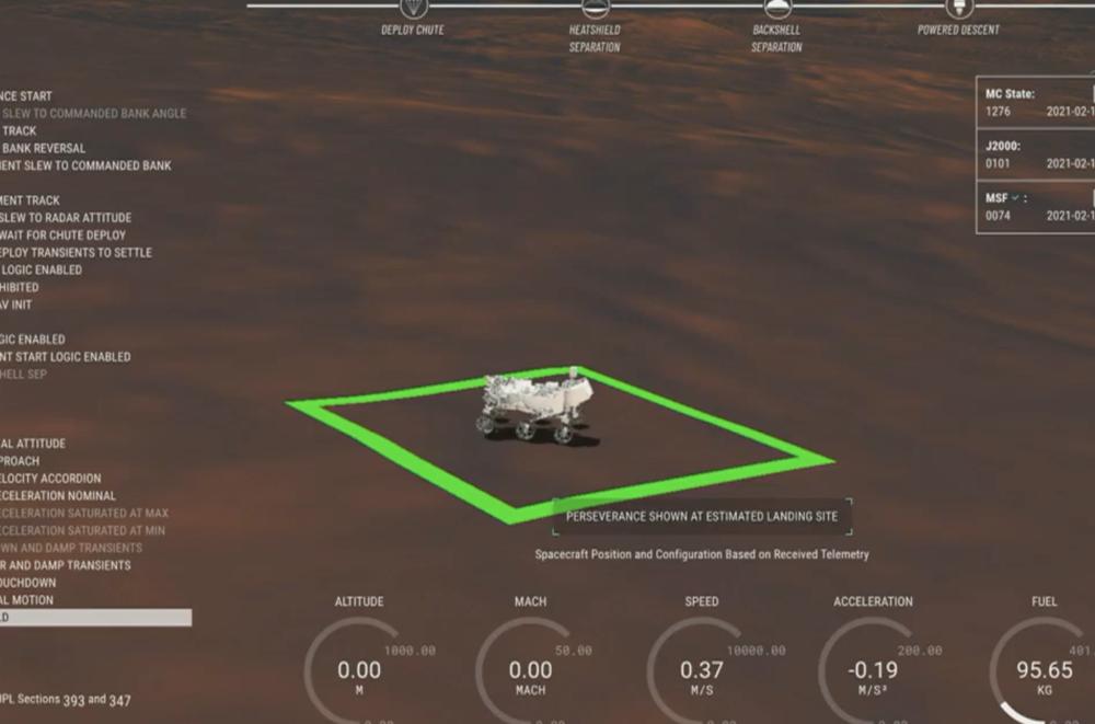 Perseverance на Марсе. Скриншот трансляции NASA.