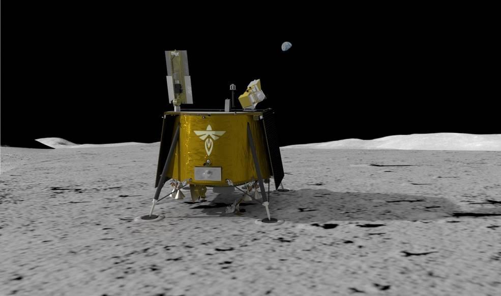 Посадочный аппарат Blue Ghost на поверхности Луны. Фото — NASA.