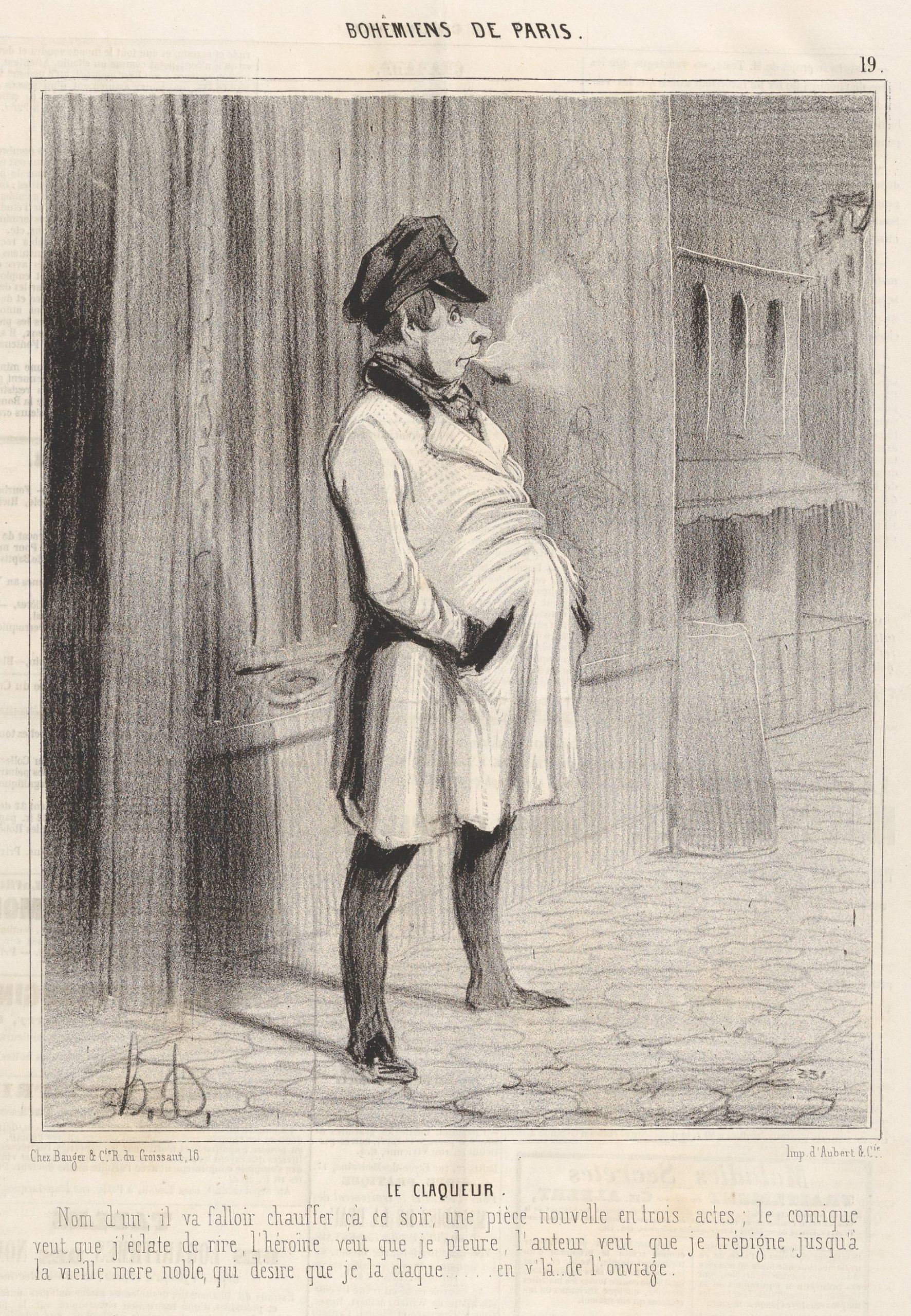 Оноре Домье, «Клакёр». Гравюра из цикла «Парижская богема», 1842 год. Изображение — Metropolitan Museum of Art