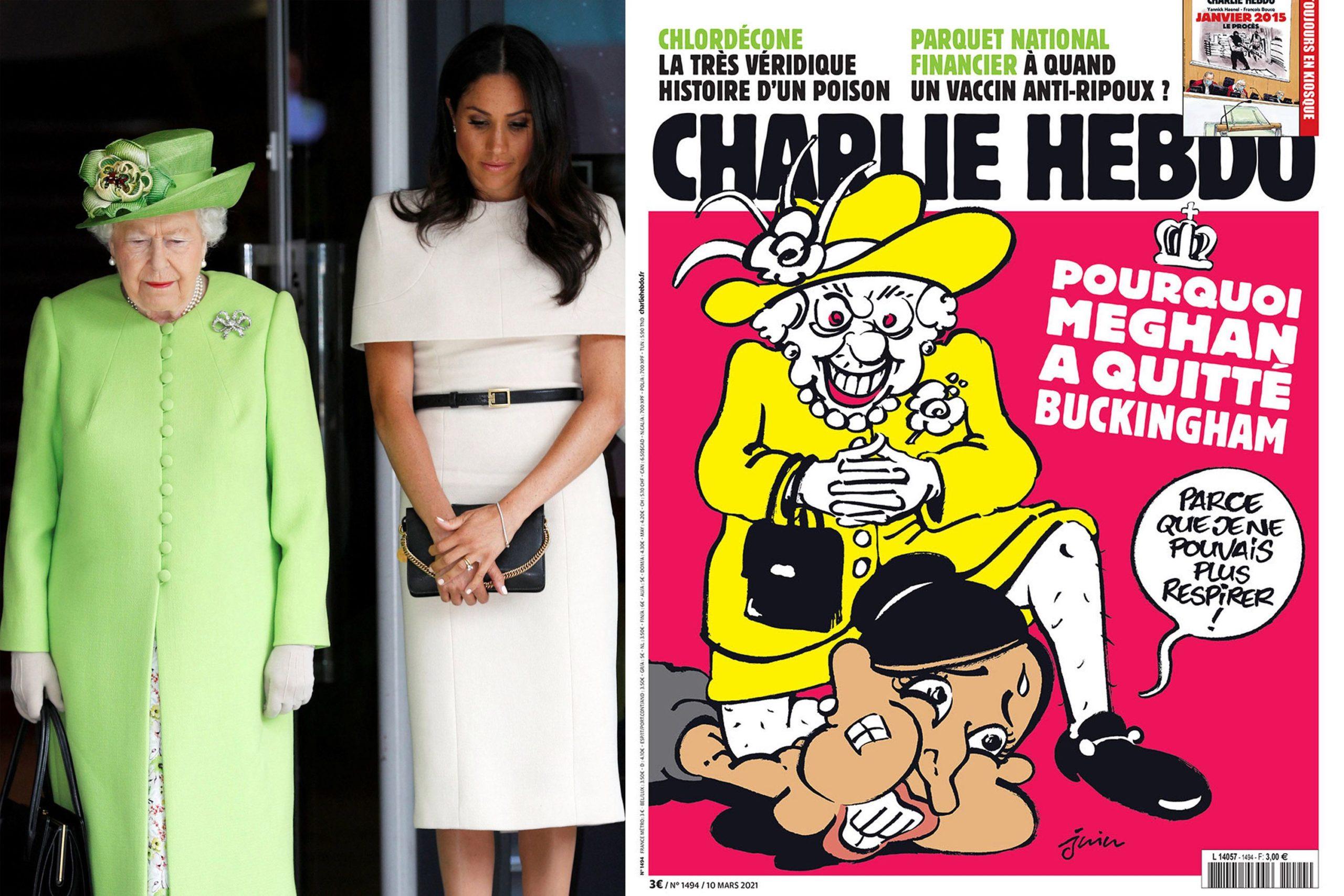 «Шарли Эбдо» раскритиковали за карикатуру на Меган Маркл и Елизавету II