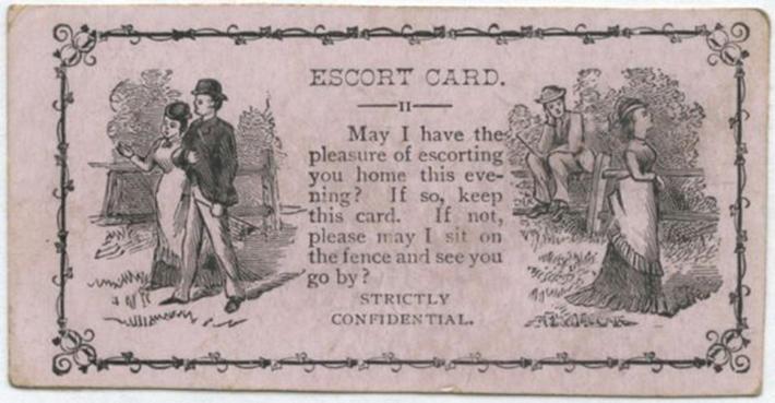 Могу ли я иметь удовольствие проводить Вас домой этим вечером? Если да, то сохраните эту карточку. Если нет, позвольте проводить Вас взглядом, сидя на заборе?