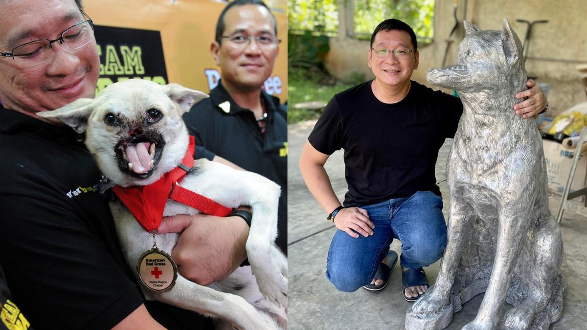 Слева: ветеринар Антон Лим прибывает в Манилу после успешной реабилитации Кабанги в Калифорнии. Справа: Лим рядом с памятником своего питомца.