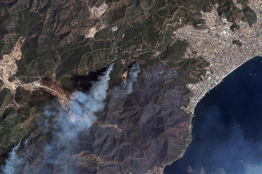 Выжженные пожарами леса в Турции видны из космоса