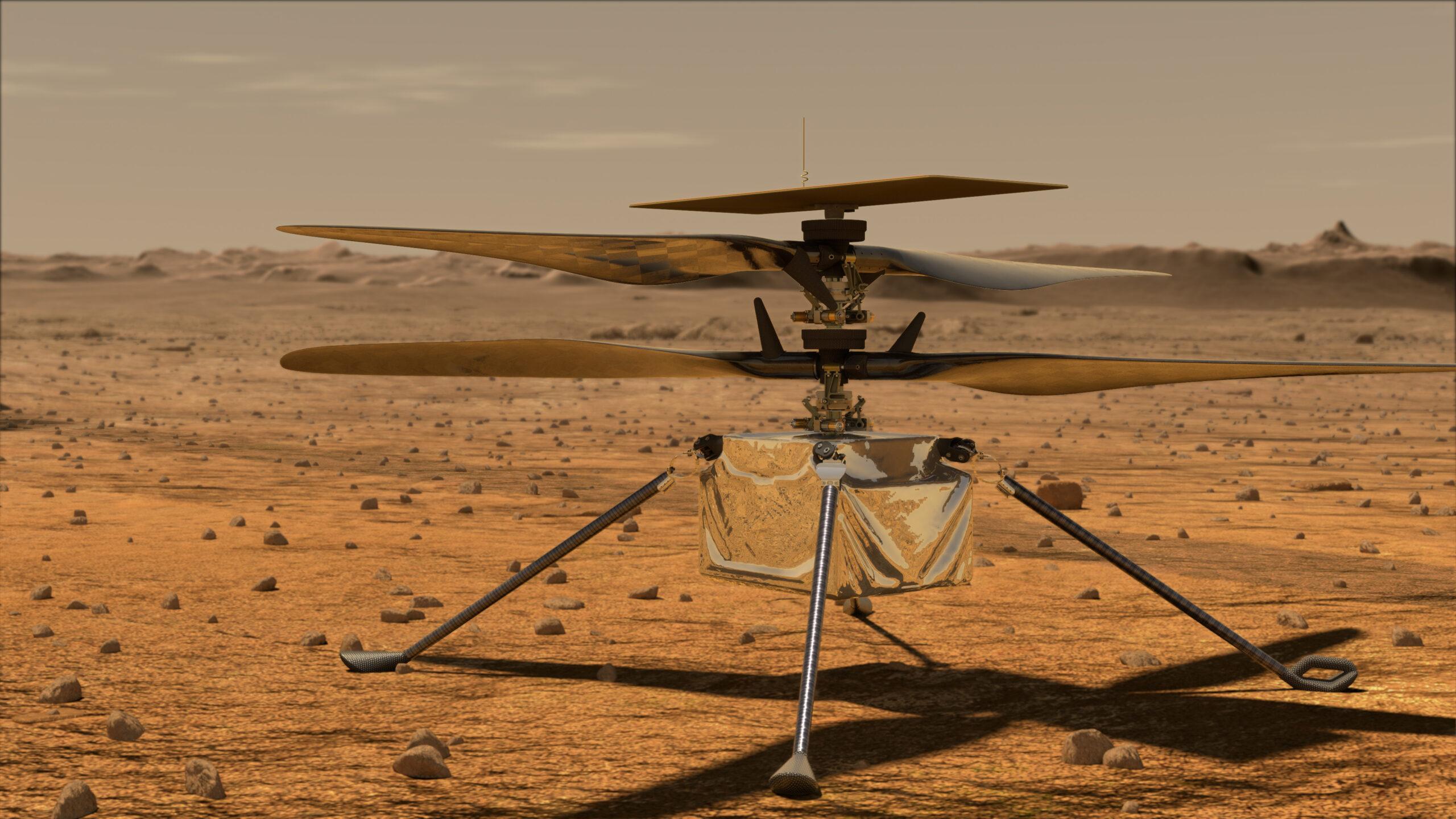 А это дрон Ingenuity. Визуализация — NASA.